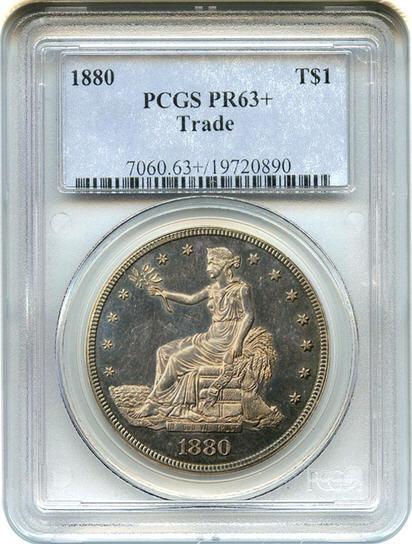アンティークコイン アメリカ 1ドル トレードダラー銀貨 1880 Trade$ PCGS Proof 63+ 未使用 売切れ