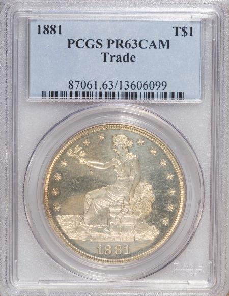 アンティークコイン アメリカ 1ドル トレードダラー銀貨 1881 T$1 PR63 Cameo PCGS 052