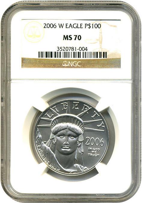 プラチナイーグル 100ドル 1オンス2006-W $100 NGC MS70