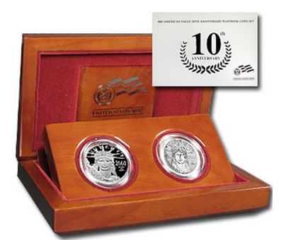 2007-W 2-Coin プルーフプラチナイーグルProof Platinum2枚セット (10th Anniv.)
