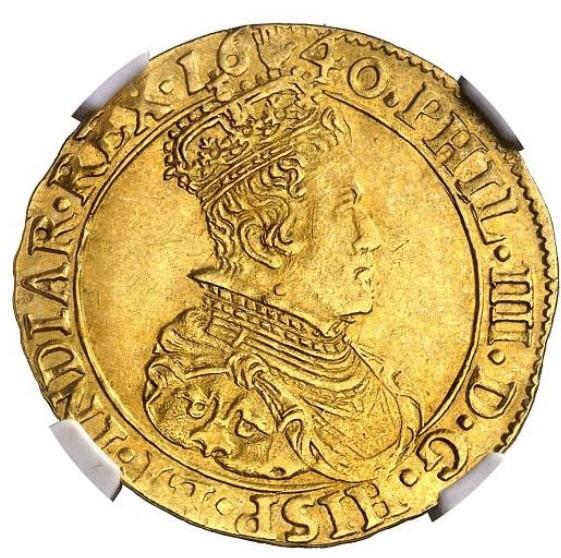 アンティークコインスパニッシュ・ネザーランド1640年フェリペ4世2ソブリン・ドールNGC-MS61