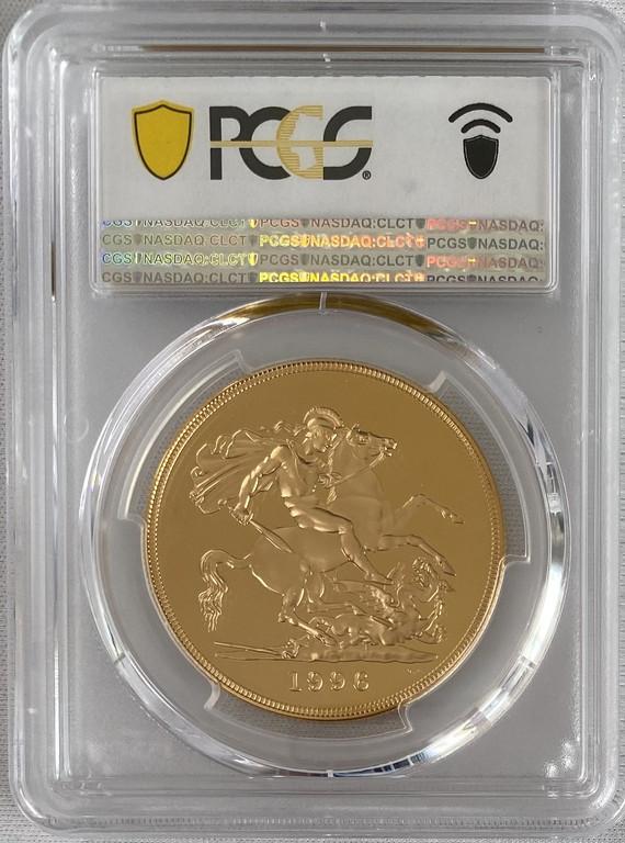グレートブリテン 1996年エリザベス5ポンドプルーフ金貨PCGS-PR70DCAM