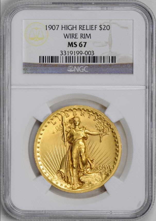 アンティークコイン アメリカ20ドル金貨セントゴーデンズ ハイリリーフ1907 $20 NGC MS67  WIRE EDGE