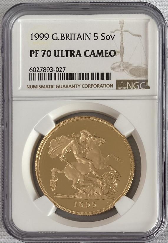 グレートブリテン 1999年エリザベス5ポンドプルーフ金貨NGC-PF70UCAM