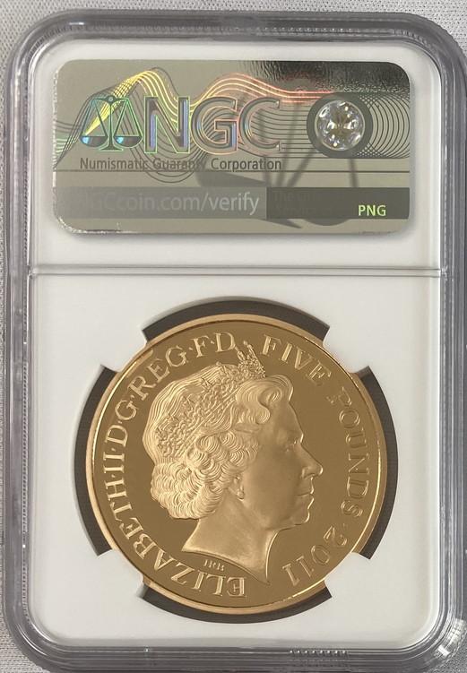 グレートブリテン2011年エリザベスII世ロイヤルウェディング5ポンドプルーフ金貨NGC-PF70UCAM