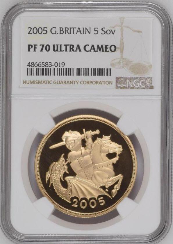 グレートブリテン2005年エリザベスII世5ポンド金貨セントジョージ-ナイトアンドドラゴンNGC-PF70UCAM4866583-019