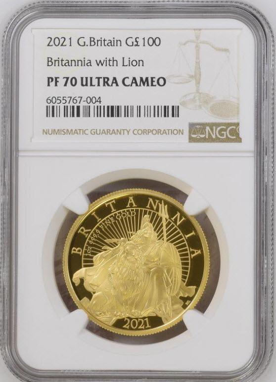 グレートブリテン 2021年 エリザベス2世 純金1オンス  100ポンドプルーフ・ライオンとブリタニア金貨 NGC-PF70UCAM
