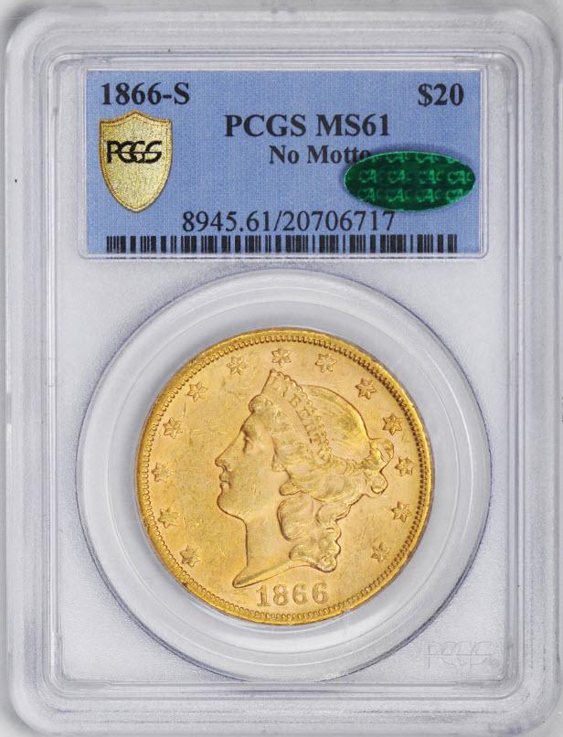 アンティークコイン アメリカ 20ドル金貨リバティヘッド1866-S $20 Liberty Head Double Eagle MS61 PCGS