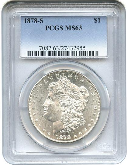 アンティークコイン アメリカ 1ドル モルガン銀貨1878 S$1 PCGS-MS63(ABS説明会つき)