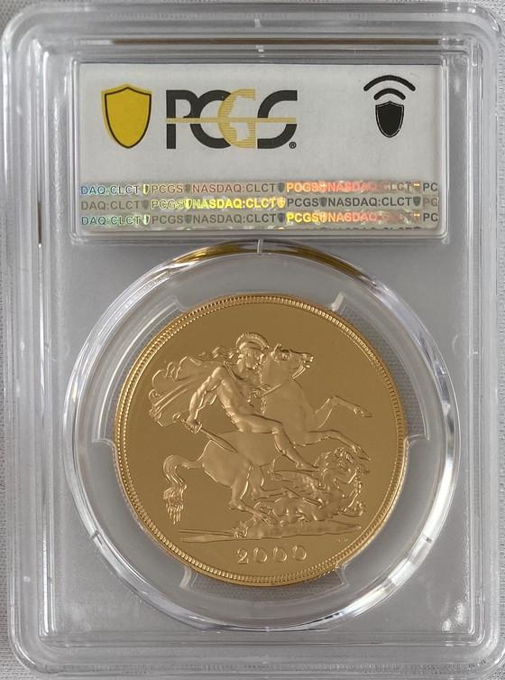 【動画あり】グレートブリテン2000年エリザベス5ポンドプルーフ金貨PCGS-PR70DCAM
