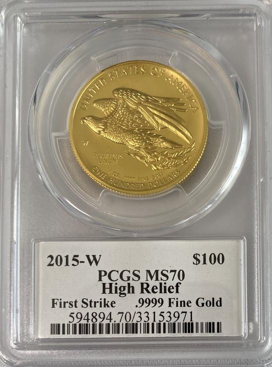 【動画あり】2015アメリカンリバティ ハイリリーフ 100ドル金貨PCGS-MS70 ファーストストライクDAVID HALLサイン入り32930736