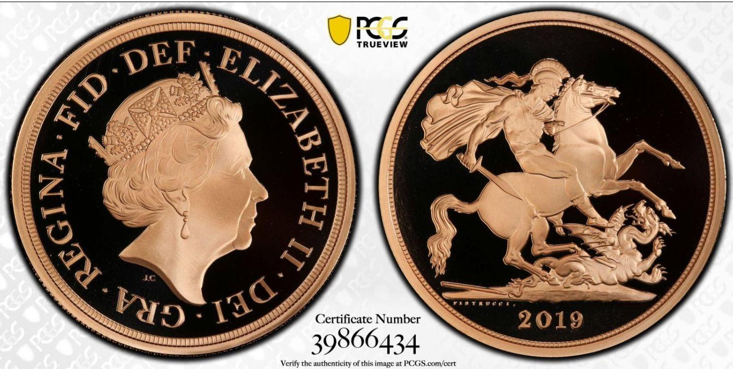 グレートブリテン2019年エリザベスII世5ポンドプルーフ金貨PCGS-PR70DCAM