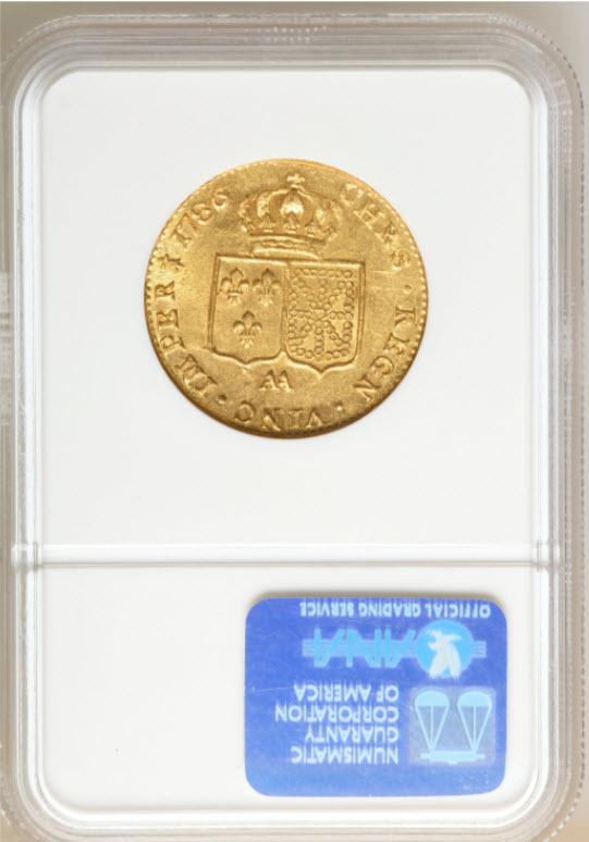 フランス2ルイドール金貨 Louis XVI gold-2Louis d'or1786AA-NGC-AU58