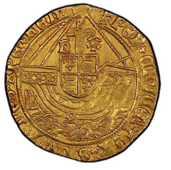 グレートブリテン ヘンリー8世(1544-1547) エンジェル金貨 PCGS-AU58