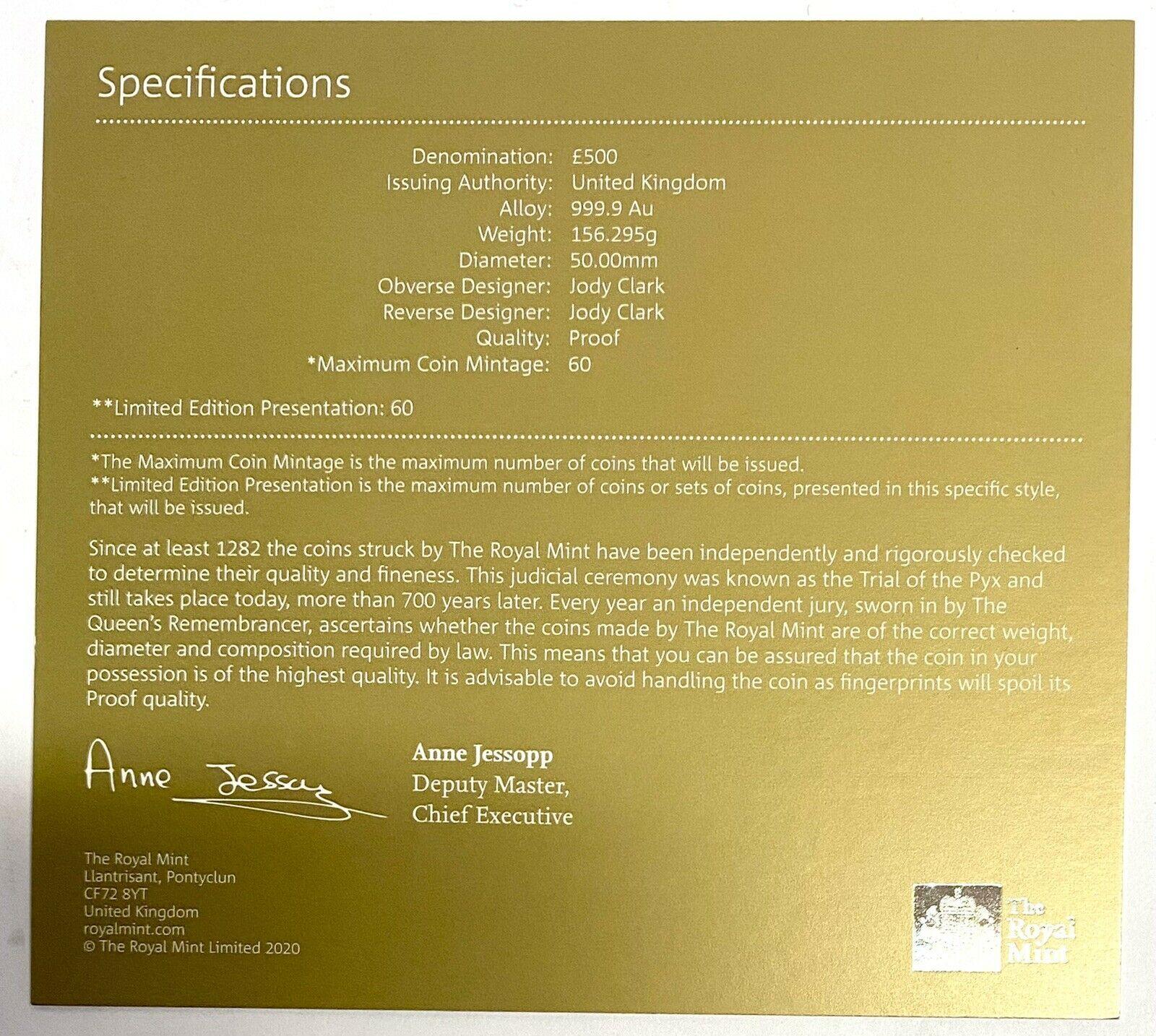 グレートブリテン 2020年 デヴィッド・ボウイ500ポンドプルーフ純金5オンス金貨NGC-PF70UCAMファーストリリース オリジナル箱付き