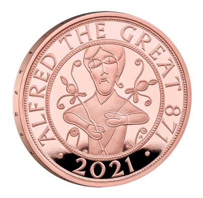 グレートブリテン 2021年 アルフレッド大王 5ポンドプルーフ金貨 箱付き
