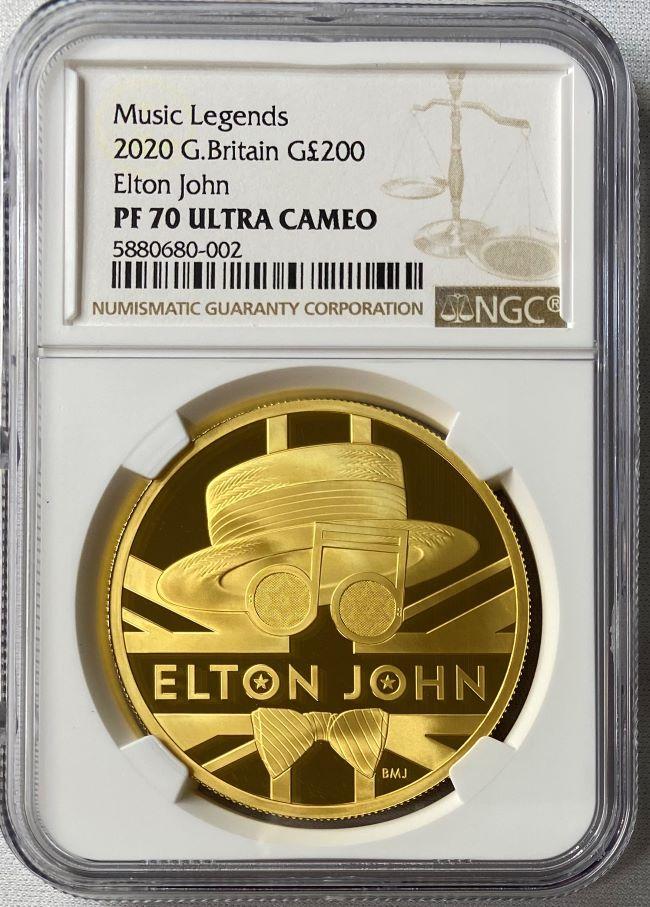グレートブリテン 2020年 音楽の伝説シリーズ エルトンジョン 2オンス 200ポンドプルーフ金貨 NGC PF70UCAM