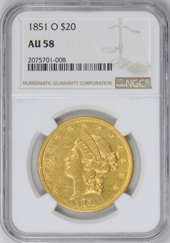 アンティークコイン アメリカ 20ドルプルーフ金貨リバティヘッド1851-O $20 Liberty Head Double Eagle AU58NGC