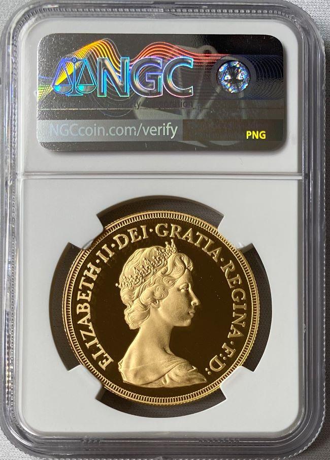グレートブリテン 1981年 エリザベスII世 5ポンド金貨 NGC-PF70UCAM