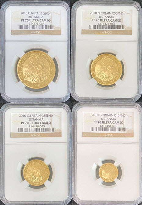 【動画あり4枚組1.85オンス】グレートブリテン2010年ブリタニア100・50・25・10ポンド金貨NGC-PF70UCAM