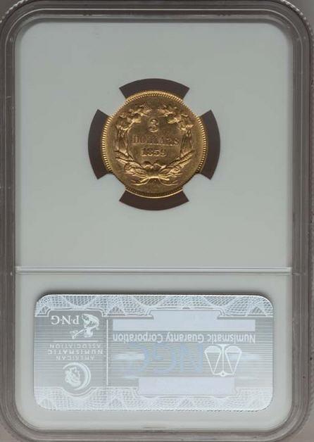 アンティークコイン アメリカ 3ドル金貨インディアンプリンスヘッド1859 $3  NGC MS61