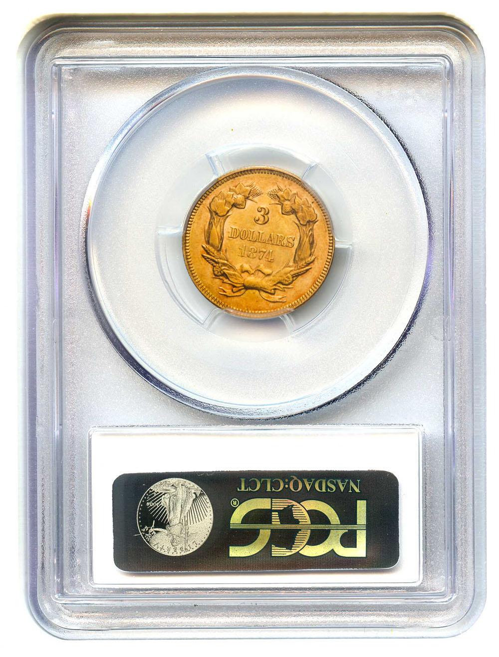 アンティークコイン アメリカ 3ドル金貨インディアンプリンスヘッド1874 $3 PCGS/CAC MS61