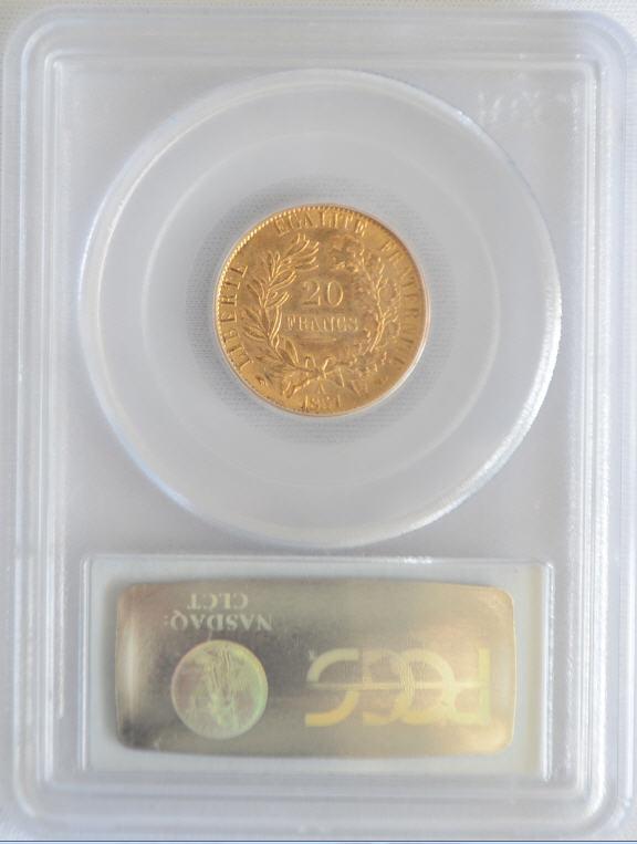 【動画あり】フランス20フラン金貨1851 A GOLD FRANCE 20 FRANCS LIBERTY HEAD  PCGS AU58