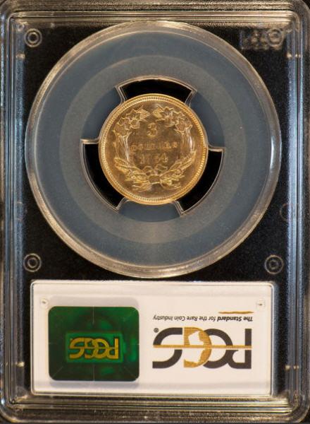 アンティークコイン アメリカ 3ドル金貨インディアンプリンセスヘッド1854 $3 PCGS AU55
