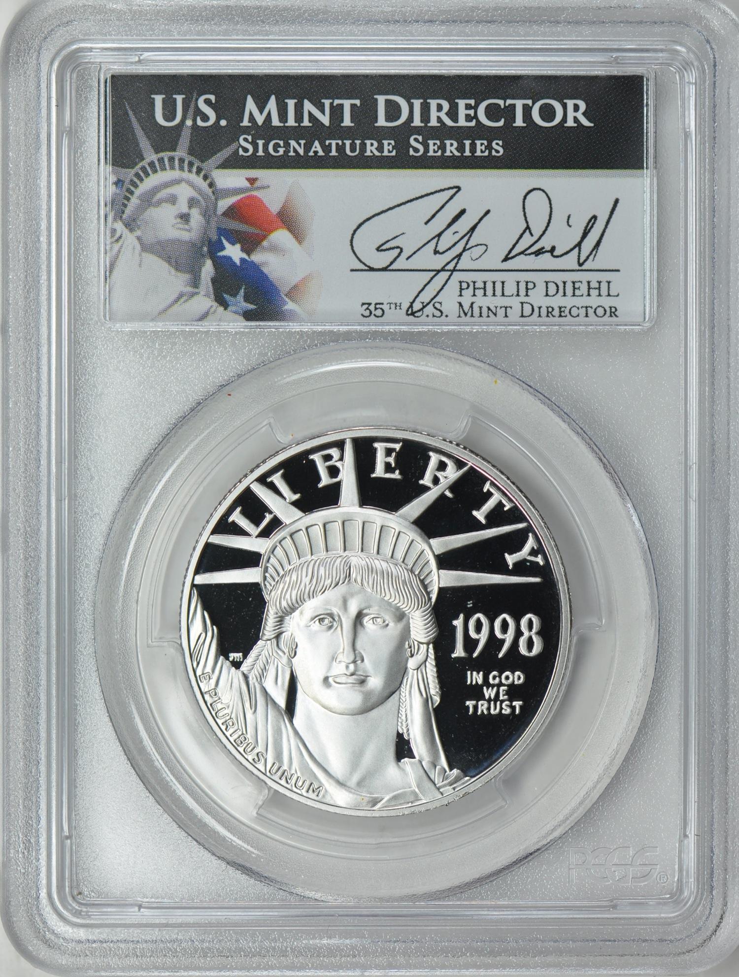 プラチナイーグル 100ドル 1オンス1998-W $100 Platinum Eagle PR70 Deep Cameo PCGS Philip Diehlサイン入り