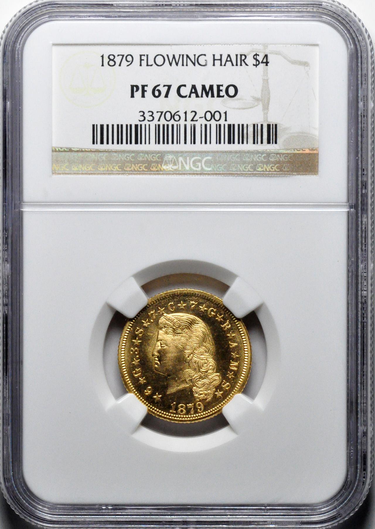 アメリカアンティークコイン4ドルステラ金貨1879 Stella $4 NGC Proof 67 CAM フローイングヘア