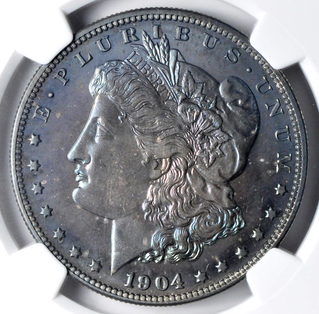 アンティークコイン アメリカ 1ドル モルガン銀貨1904  S$1 NGC PF67