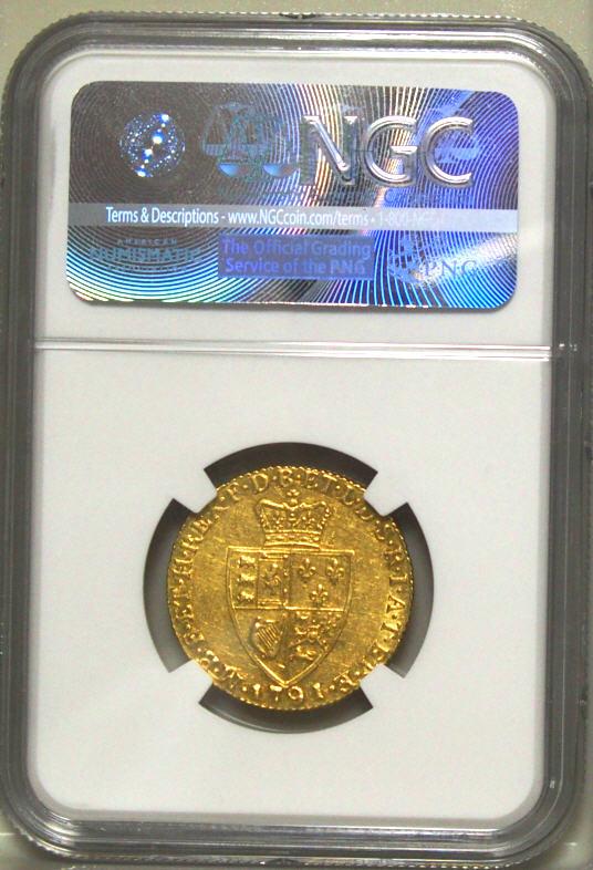 【動画あり】グレートブリテン ジョージ3世 1791年 1ギニー金貨 NGC AU55