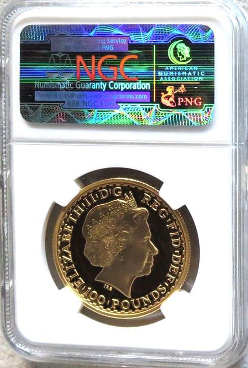 【残存7枚】1998 グレートブリテン ブリタニア100ポンド金貨 NGC PF69 UCAM
