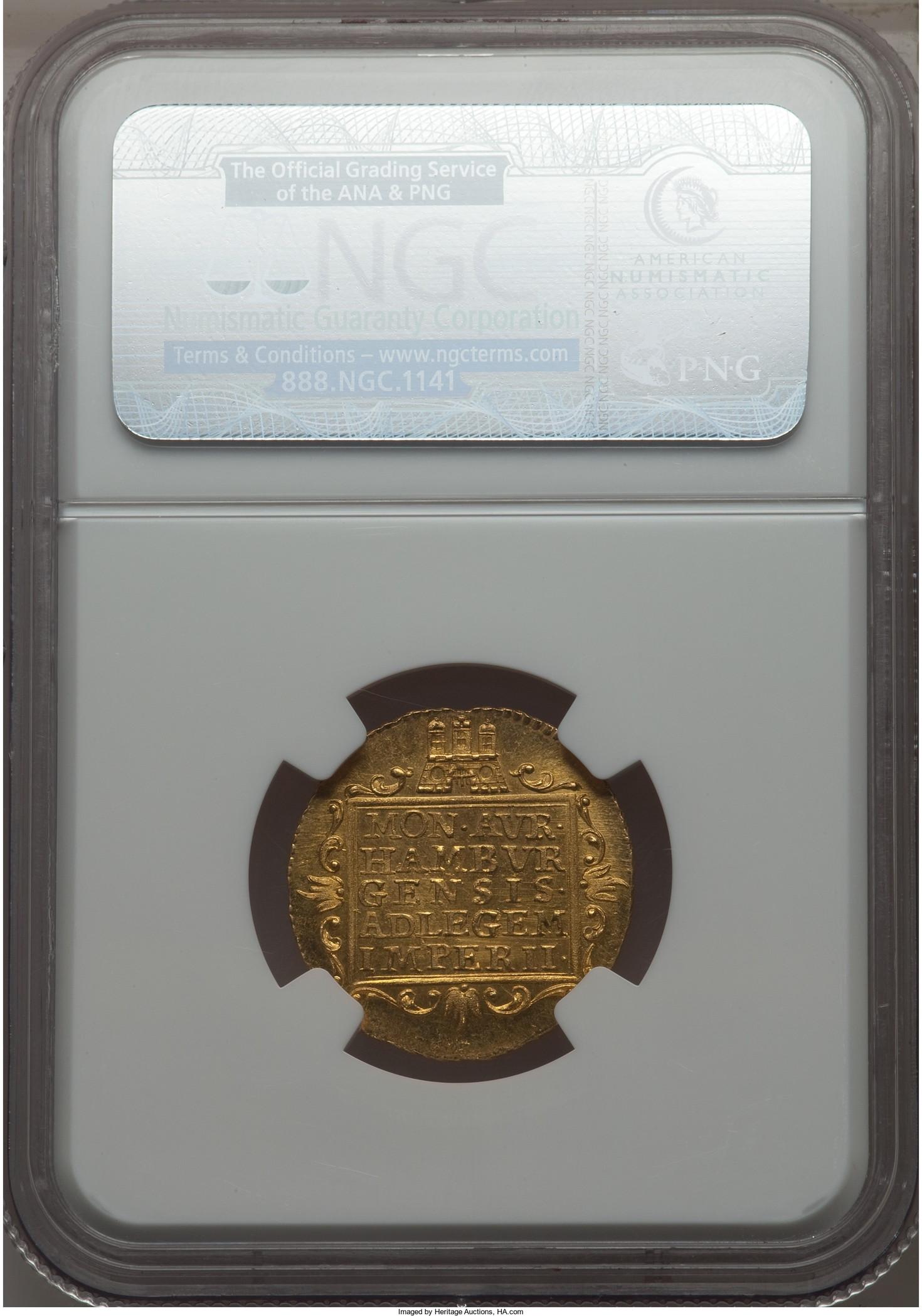 【動画あり】【トップグレード残存1枚】ドイツ1ダカット金貨 Hamburg. Free City gold Ducat 1787 MS66 NGC