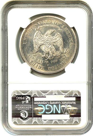 アンティークコイン アメリカ 1ドル トレードダラー銀貨 1875-S Trade$ NGC MS62 未使用 売切れ