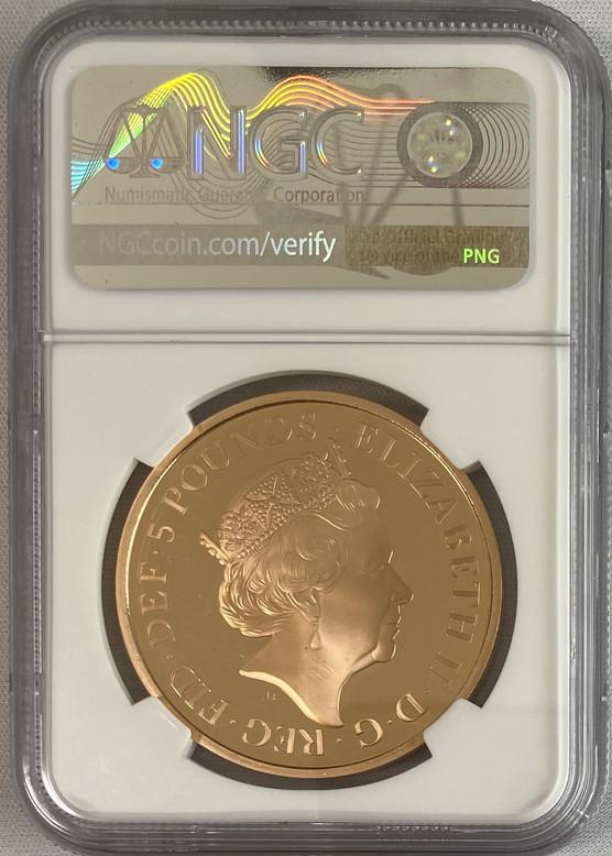 グレートブリテン2018年エリザベスII世65周年記念サファイアコロネーション5ポンド金貨NGC-PF70UCAMEO