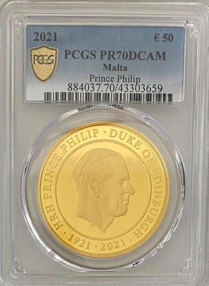 【動画あり】イギリス連邦マルタ共和国 2021年 フィリップ殿下追悼 50ユーロプルーフ金貨 PCGS-PR70DCAM