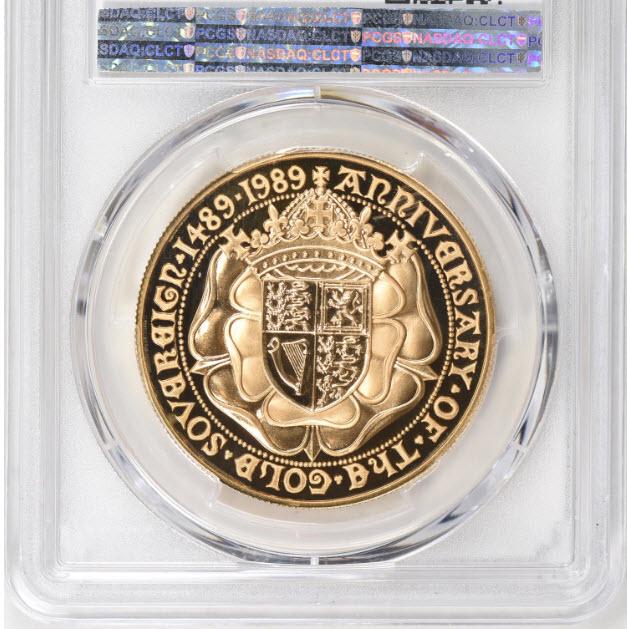 【動画ありトップグレード】1989年グレートブリテン エリザベス2世 500周年記念 5ポンド金貨 PCGS PR70DCAM