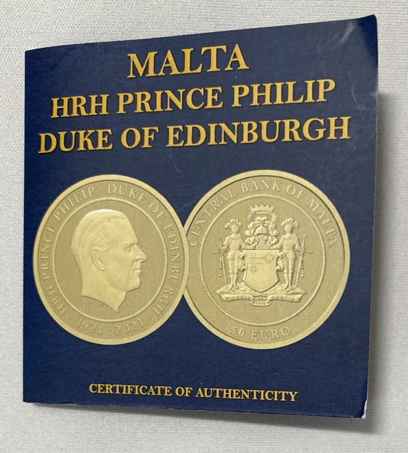 【動画あり】イギリス連邦 マルタ共和国 2021年 フィリップ殿下追悼50ユーロ マットプルーフ金貨 PCGS-PR70Matte