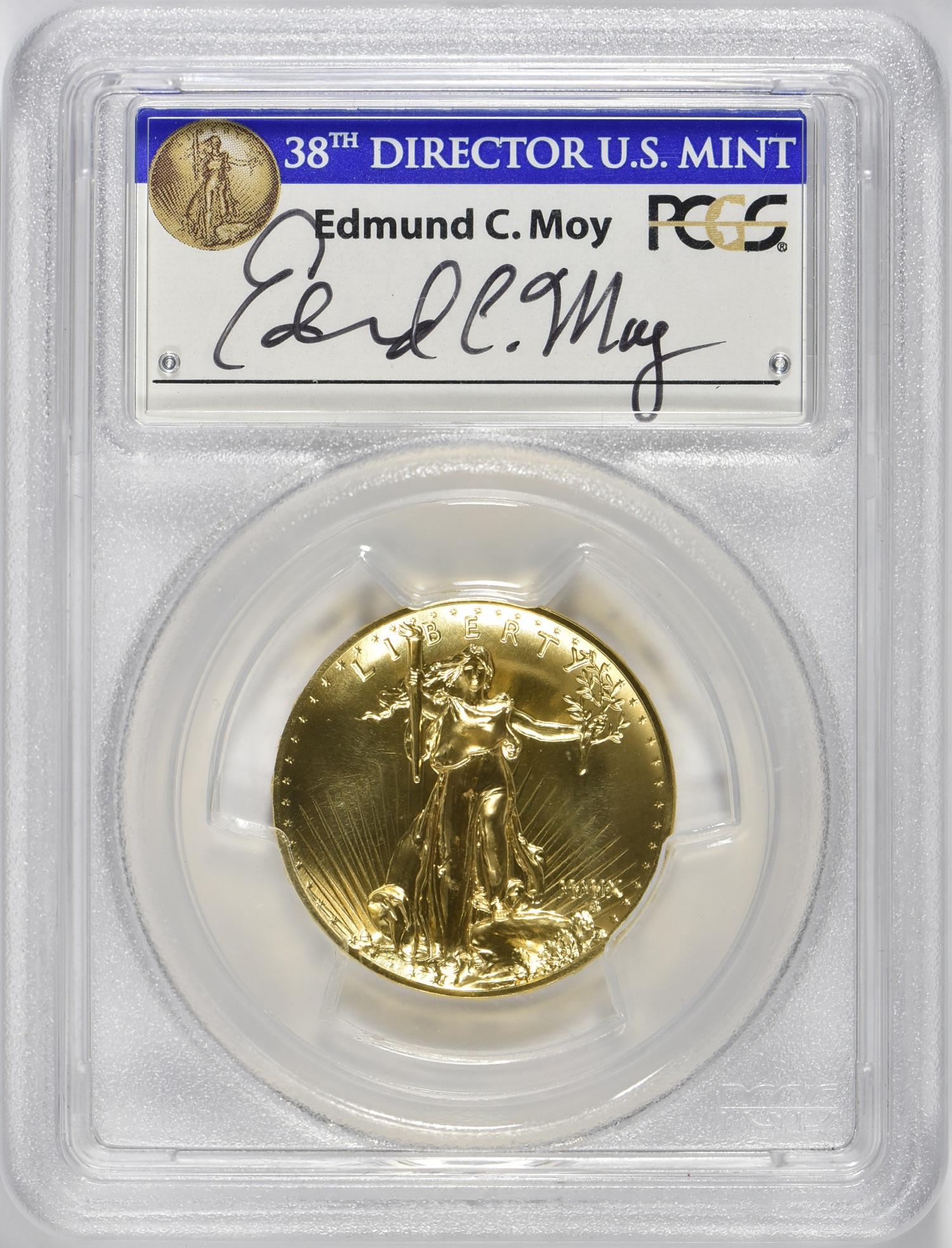 【動画あり】2009ウルトラハイリリーフ金貨 PCGS-MS70 Edmund C. Moyサイン入り