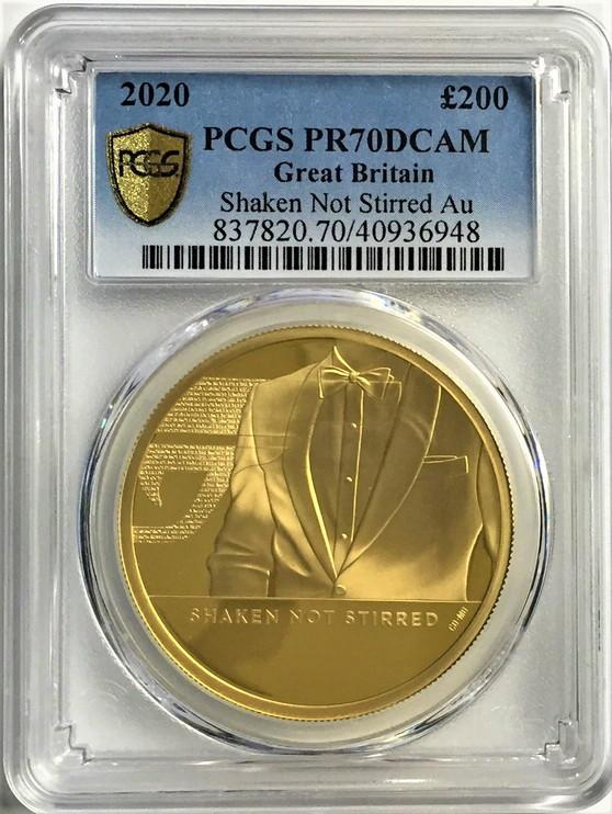 グレートブリテン2020年エリザベスII世2オンス200ポンドプルーフ純金金貨ジェームズボンド3rd-007PCGS-PR70DCAM
