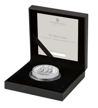 グレートブリテン2020年スリーグレーセス2オンス5ポンドプルーフ銀貨オリジナル箱付き4