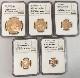 【鑑定済】グレートブリテン2018年エリザベスII世NGC PF70UCAM 5枚セット プルーフ金貨 オリジナル箱付き