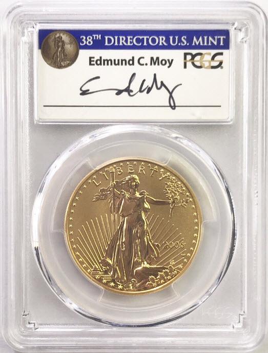 アメリカ50ドル金貨 ゴールドイーグル20周年記念リバースプルーフ2006年W $50PCGS-PR70-エドモンド・C・モイサイン入り