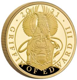 グレートブリテン-クイーンズビースト-エドワード3世のグリフィン2021年100ポンド金貨PCGS社-PR70DCAMオリジナル箱つき個別番号41627579