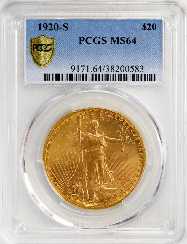 アンティークコイン アメリカ20ドル金貨セントゴーデンズ 1920-S $20 PCGS MS64