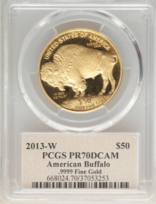 アメリカ2013-Wバッファロー金貨50ドル 1オンス PCGS PR70DCAMトーマス・クリーブランドサイン入り