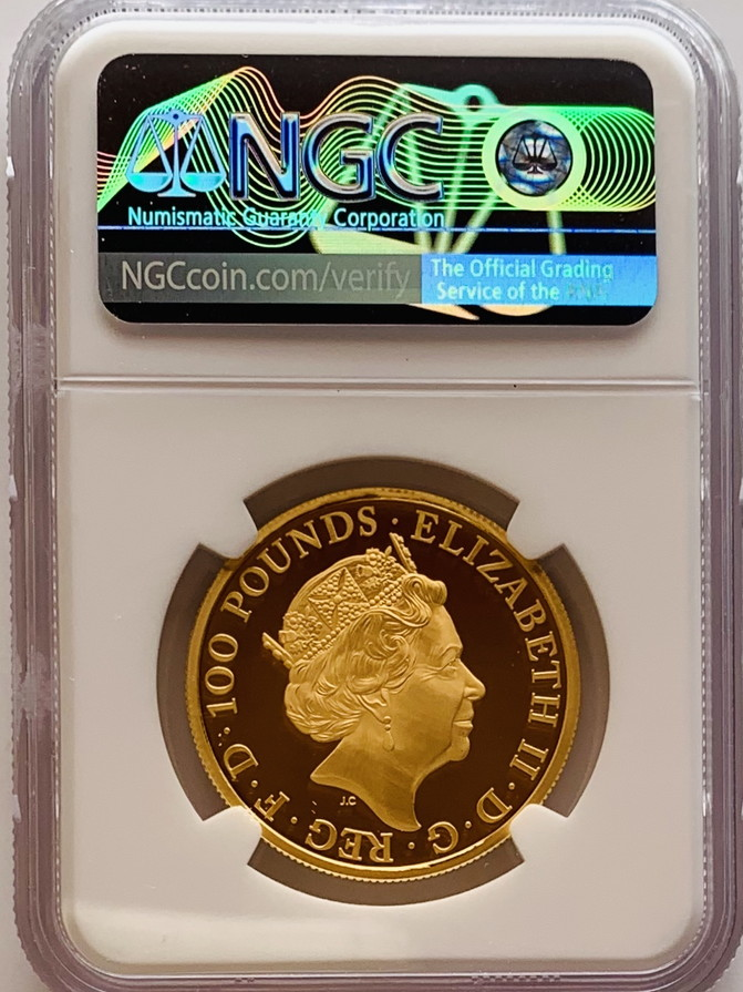 グレートブリテン クイーンズビースト 2020年 ホワイトホース 100ポンド金貨 NGC-PF70UCAM 個別番号5878400-002