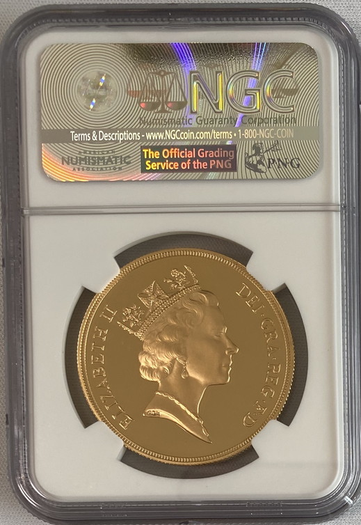 グレートブリテン1992年エリザベスII世5ポンドプルーフ金貨NGC-PF70UCAM