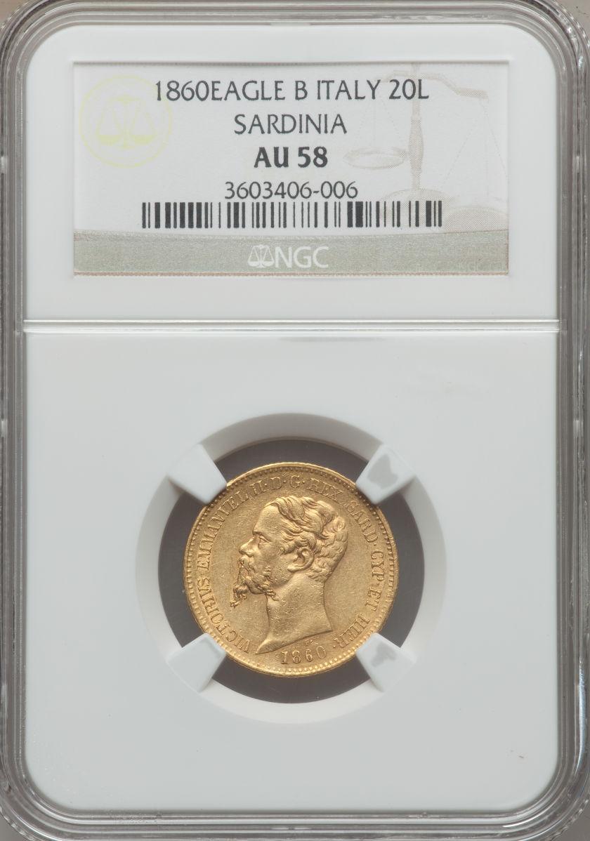 【動画あり】イタリア 20リレ金貨 Sardinia. Vittorio Emanuele II gold 20 Lire 1860-B Eagle, KM146.1, AU58 NGC